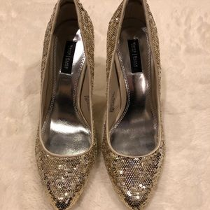 WH|BM Gold Sequined Heels Size 8.5